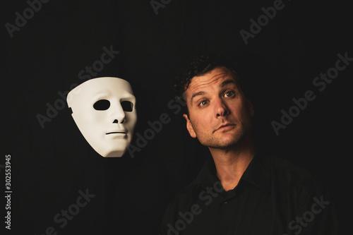 Attractive Male Model Studio Portraits with mask Tablou Canvas