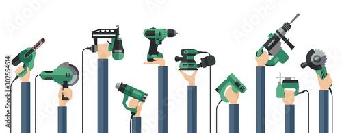 Fotografía  Flat design illustration of hands holding power electric hand tools