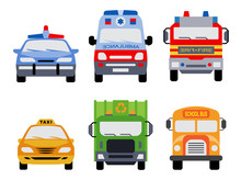 Public Service Vehicles. Set Of Front View Flat Icons Of Police Car, Ambulance Car, Fire Department Vehicle, Taxi Car,  Garbage Collector And School Bus.