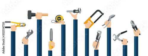 Carta da parati Flat design illustration of hands holding hand tools for metal work factory process
