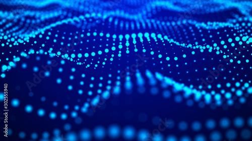 Fototapety, obrazy: Big data visualization 3D. Technology wave. Analytics representation. Digital background. 3d rendering.