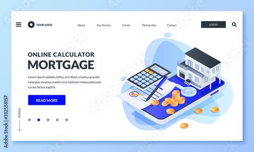 Fototapeta Online mortgage rate calculator. Vector 3d isometric illustration. Concept of real estate loan, property investment obraz