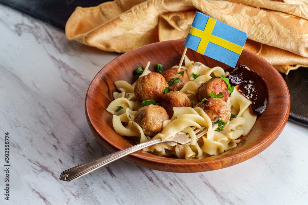 Fototapeta Swedish Meatballs Gravy Noodles
