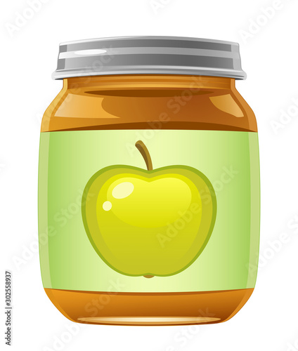 Jar of baby food on a white background Slika na platnu
