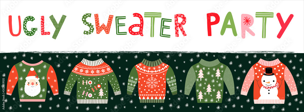 Fototapeta Ugly sweater party banner, invitation or poster for Christmas holiday celebrations
