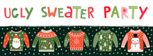 Ugly Sweater Party Banner, Invitation Or Poster For Christmas Holiday Celebrations