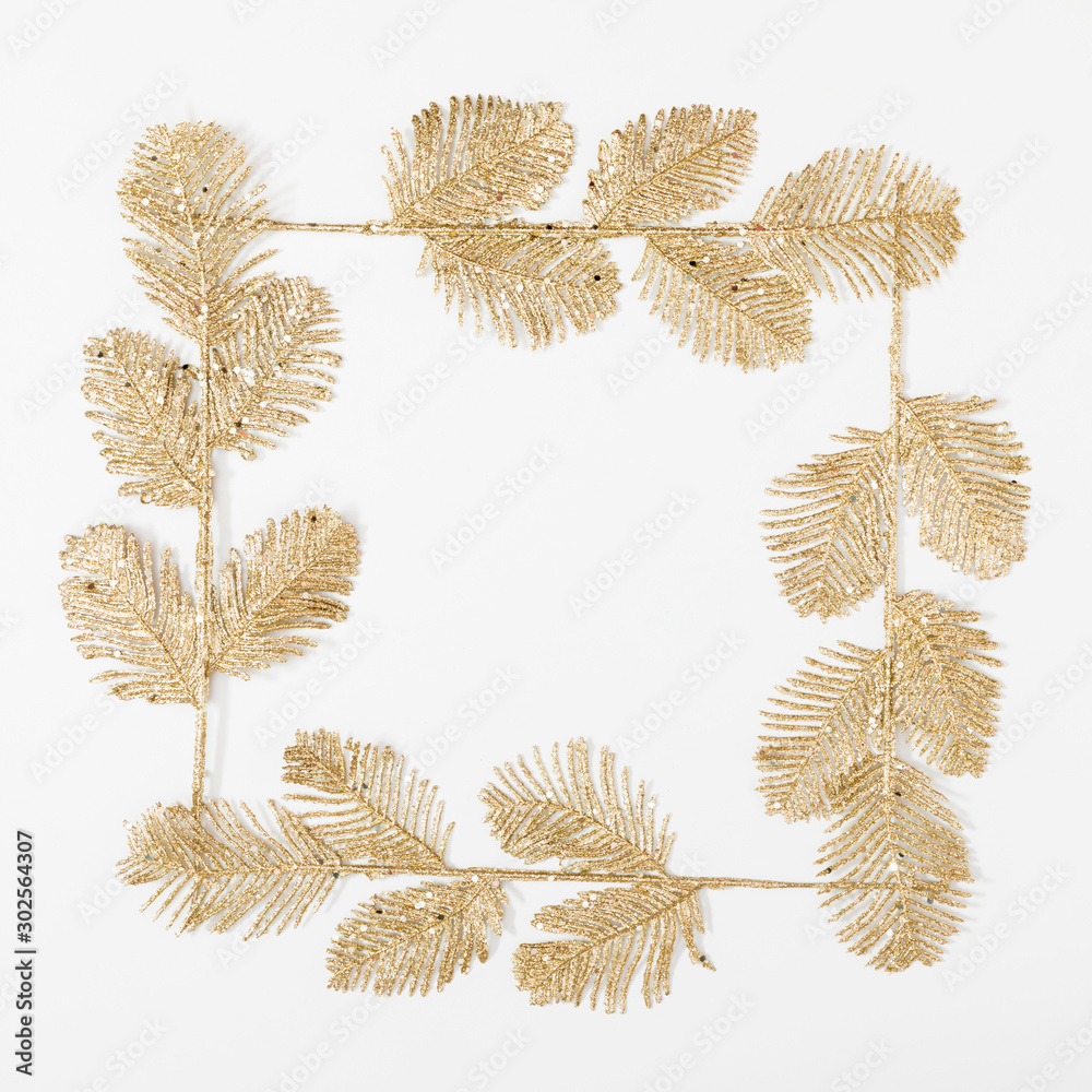 Fototapety, obrazy: Christmas holiday composition. Golden glitter decorations on white background. Christmas, New Year, winter concept. Flat lay, top view, copy space