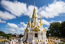 Golden And White Pagoda At Wat Tham Khuha Sawan Temple, Ubon Ratchathani Province, Thailand