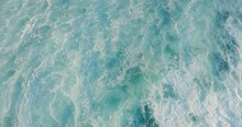 Aerial Top Down View Flying Over A Breaking Wave With Ocean White Water In Motion And Foam Textures, Ocean Texture Background