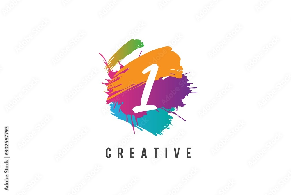 Fototapeta Hand lettering brush initial number 1 inside colorful paintbrush template design