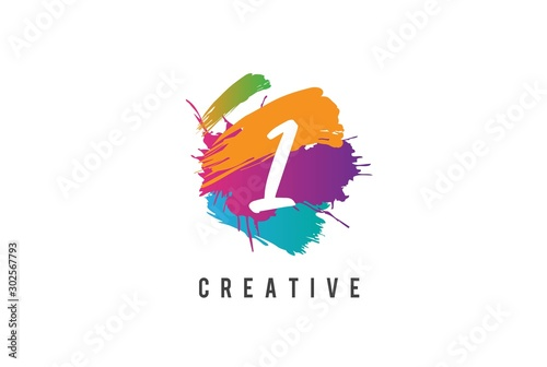Photo  Hand lettering brush initial number 1 inside colorful paintbrush template design