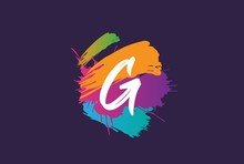 Hand Lettering Brush Initial Letter G With Colorful Paintbrush On Dark Background Template Design