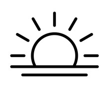 Sunrise In The Morning Or Sunset At Dusk Line Art Vector Icon For Apps And Websites