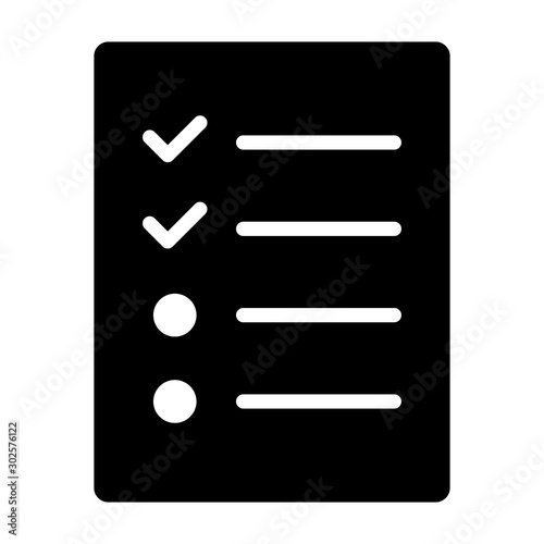 Vászonkép Document with logs, checklist or survey flat vector icon for apps and websites
