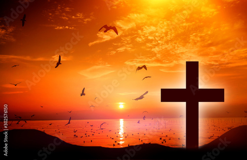 Christmas concept: the symbol of the cross of Jesus Christ on earth The back wit Fototapet