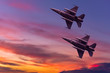 canvas print picture - Army Show performant of air craft in air show with twilight sky background.