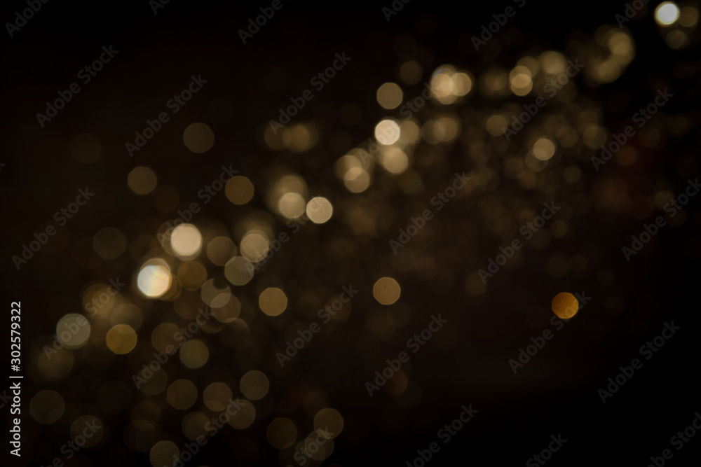 Fototapety, obrazy: Gold abstract bokeh on black