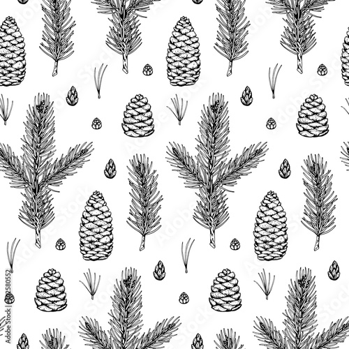 Türaufkleber Künstlich Hand drawn Christmas seamless pattern with fir tree and pine tree branches and cones isolated on white background. Vector illustration in sketch style