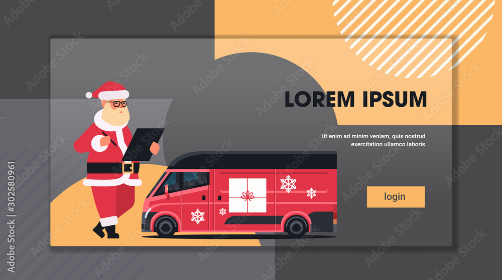 Fototapety, obrazy: santa claus writing on clipboard near delivery van with gift boxes shipping transport for merry christmas happy new year winter holidays celebration concept horizontal copy space flat vector
