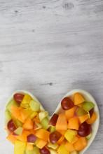 Fresh Fruit Salad In Heart Sha...