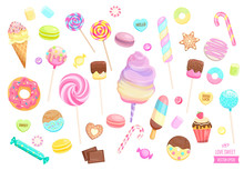 Big Set Isolated Sweets On White Background-ice Cream,candy,macaroon,cupcake,lollipop,caramel,marmalade.Template For Confectionery,sweet Banner And Poster,advertise For Candyshop. Vector Illustration