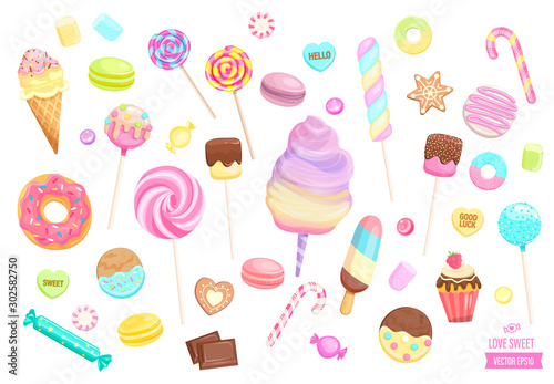 Obraz na płótnie Big set isolated sweets on white background-ice cream,candy,macaroon,cupcake,lollipop,caramel,marmalade