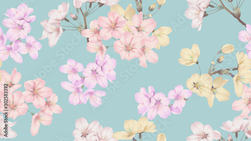 Floral seamless pattern, colorful Somei Yoshino sakura flowers on blue