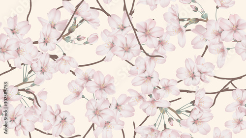 Floral seamless pattern, Somei Yoshino sakura flowers with branch on light orange