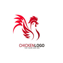 Chicken Logo With Red Color, Design Template