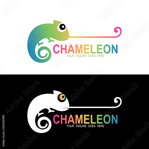 Chameleon logo , Animal icon design template Wall mural