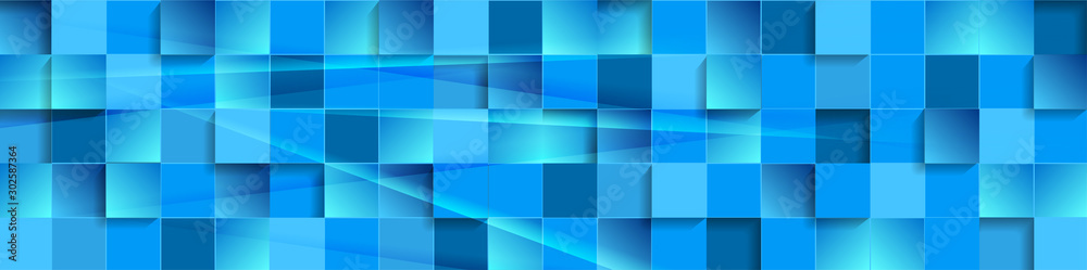 Fototapety, obrazy: Abstract tech banner with blue glossy mosaic squares pattern. Vector geometric background