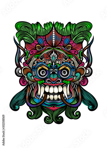 Traditional Balinese mask of the terrible mythical defender,Vector outline illus Wallpaper Mural
