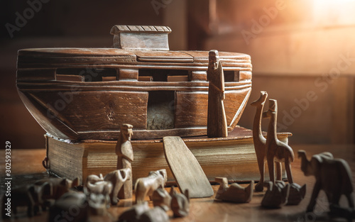 Noah and animals, story in Bible, Wood carving doll, christian concept Fototapeta