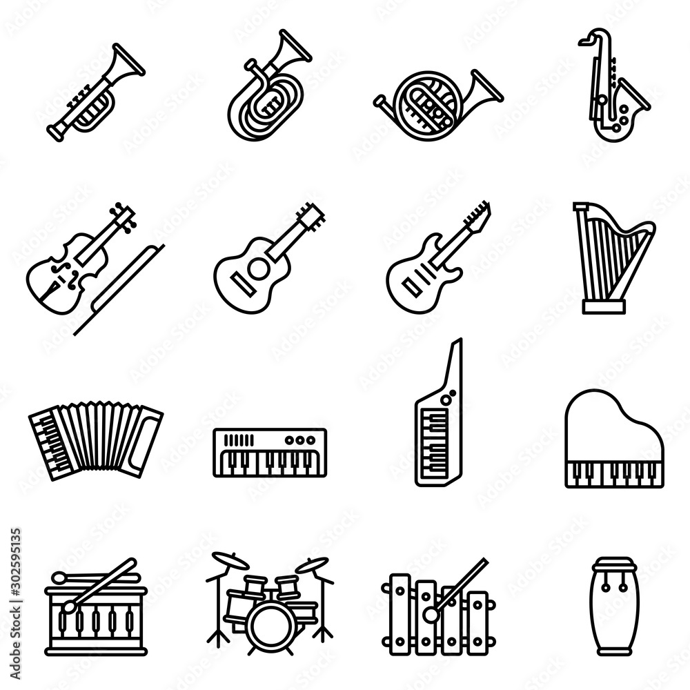 Music instrument icons set with white background. Thin Line Style stock vector.
