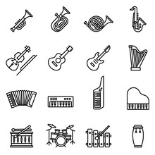 Music Instrument Icons Set Wit...