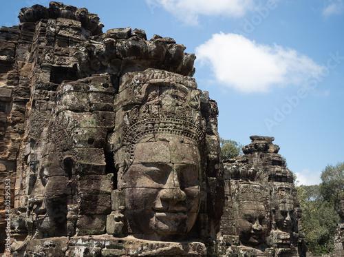 Close Up of a Face Tower at The Bayon Temple at Angkor Thom in Cambodia
