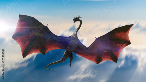 Fotografie, Obraz dragon, gigantic winged creature flying in the sky