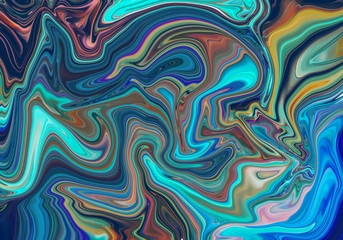 Colorful abstract painting background. Liquid marbling paint background. Fluid painting abstract texture. Intensive colorful mix of acrylic vibrant colors. Style incorporates the swirls of marble