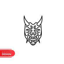 Oni Mask Line Icon With Modern Design, Isolated On White Background. Flat Style For Graphic Design Template. Suitable For Logo, Web, UI, Mobile App. Vector Illustration