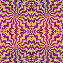 Colorful Zigzags. Spin Illusion. Seamless Pattern.