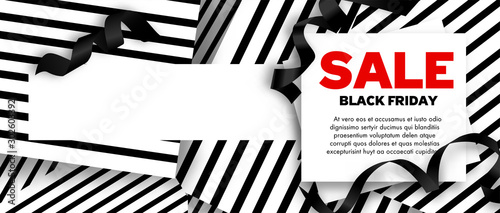 Black Friday Sale Banners vector illustration with ribbons Canvas Print