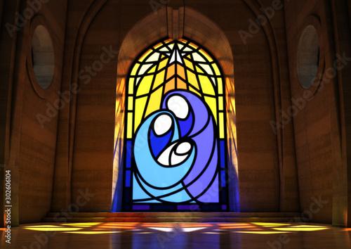 Cuadros en Lienzo Stained Glass Window Nativity Scene