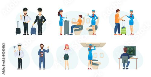 Commercial flight board crew, air traffic controller, ground support technician Wallpaper Mural
