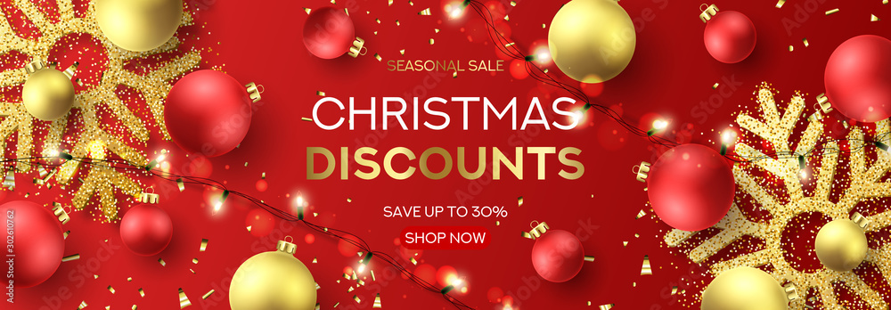 Fototapety, obrazy: Web banner for Christmas sale. Holiday background with sparkling light garlands, red and golden balls, confetti and snowflakes. Vector illustration. Seasonal discount promotion.