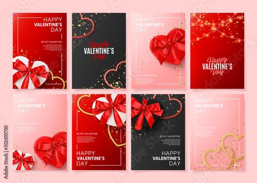Set of Happy Valentine's Day posters Fototapeta