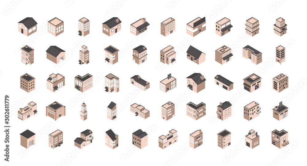 Fototapeta building isometric style icons set