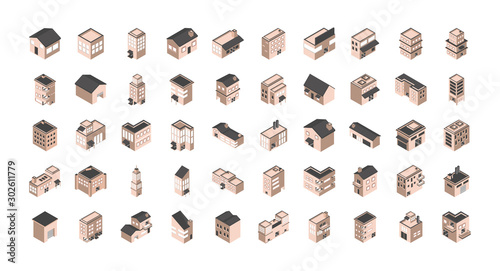 Tablou Canvas building isometric style icons set
