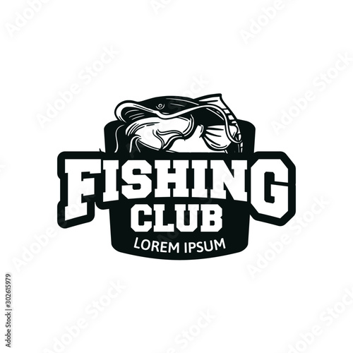 Fotomural  catfish fishing club, logo fishing badge