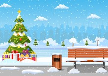 Snowy Winter City Park With Christmas Trees, Bench, Walkway And City Skyline. Winter Christmas Landscape For Banner, Poster, Web. Vector Illustration In Flat Style