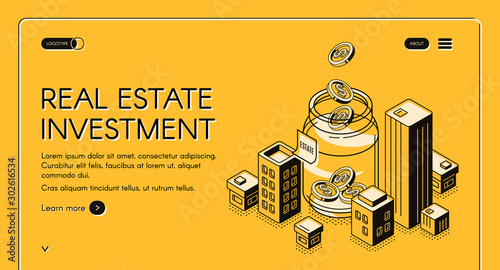 Fotomural Real estate investment isometric landing page, dollar coins falling to huge jar surrounded with city buildings, invest fund increase money finance business